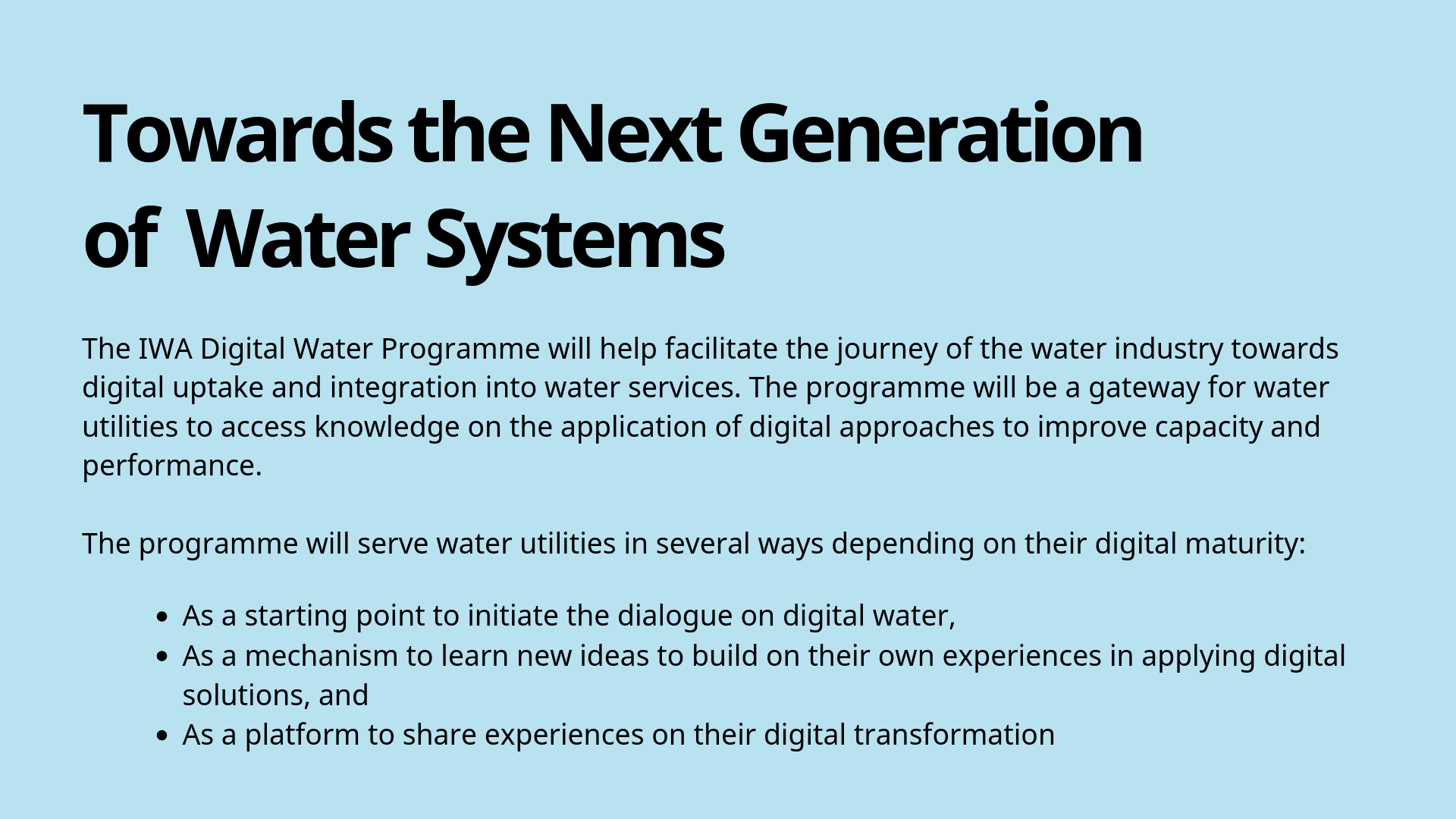 Digital Water Group International Water Association